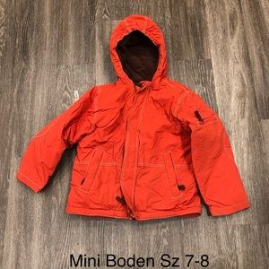 Mini Boden orange coat 7/8